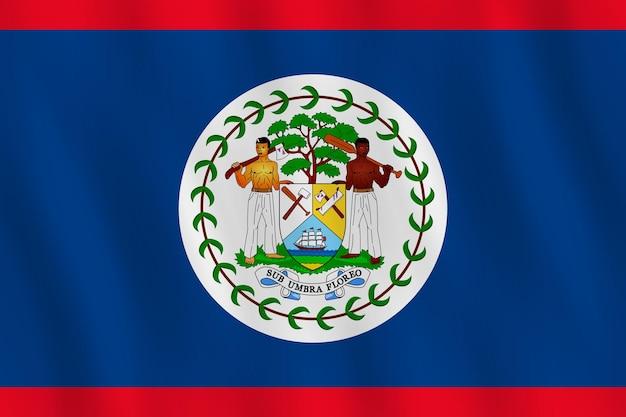 Flaga belize z efektem falowania, oficjalne proporcje.