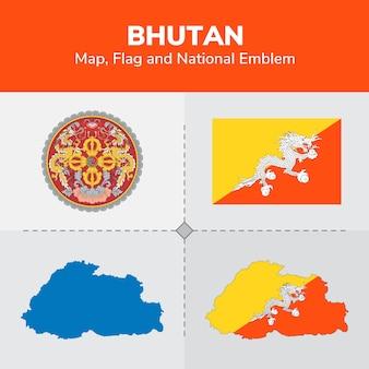 Flaga bhutanu i godło narodowe