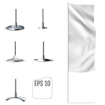 Flaga Biały Sztandar Premium Wektorów