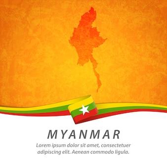 Flaga birmy z centralną mapą