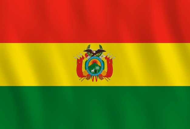 Flaga boliwii z efektem falowania, oficjalne proporcje.