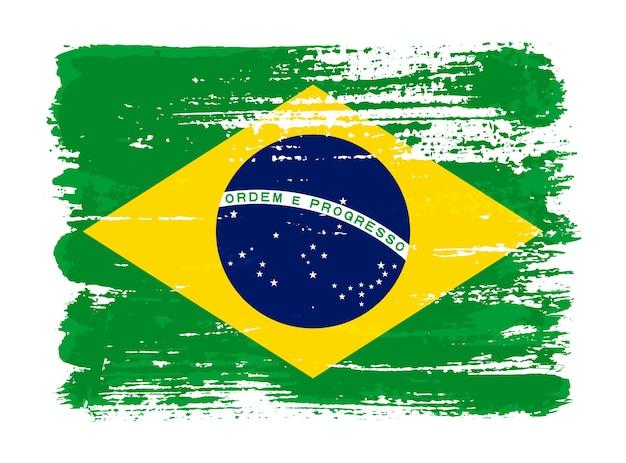 Flaga brazylii obrysu pędzla grunge