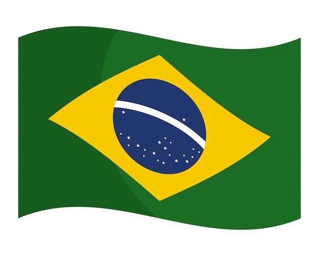 Flaga brazylii płaskie na białym tle ilustracji wektorowych wektorowych