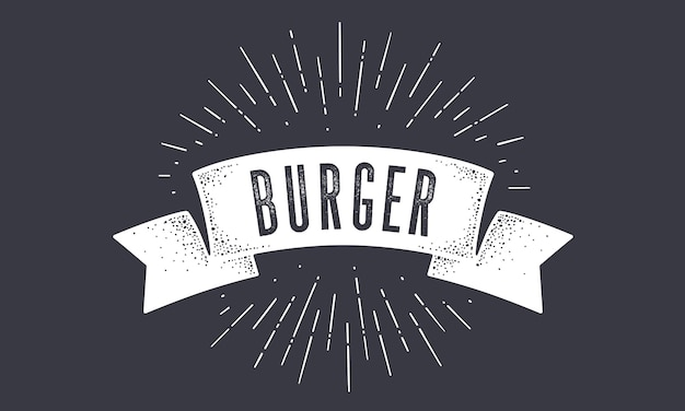 Flaga burger. old school banner flag z tekstem burger.