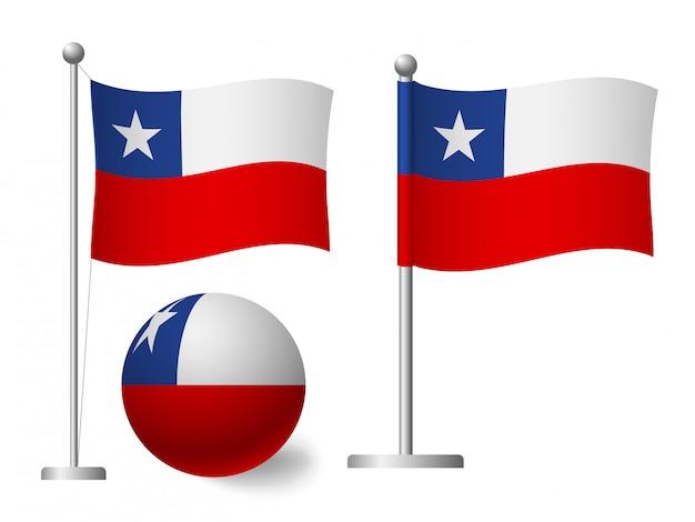 Flaga chile na ikonę maszt i piłka