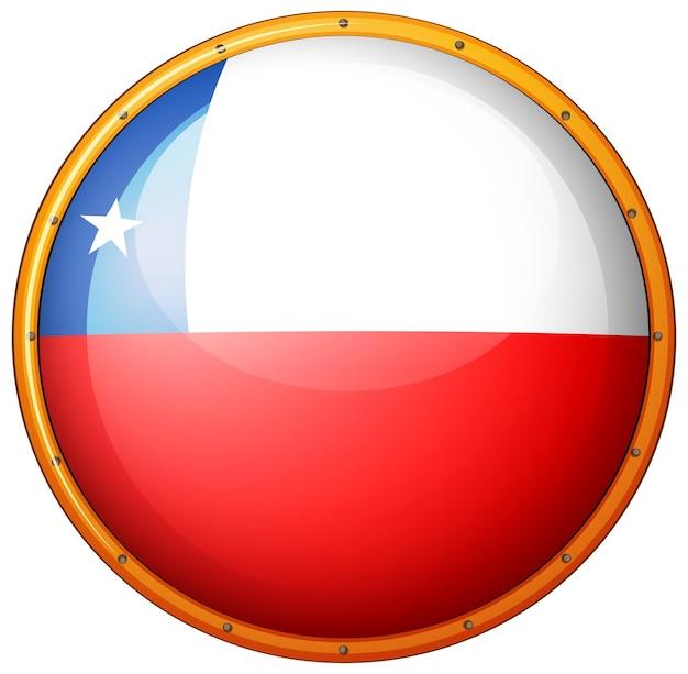 Flaga chile na okrągłej odznace