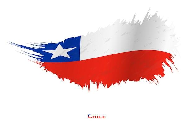 Flaga chile w stylu grunge z efektem macha, flaga obrysu pędzla wektor grunge.