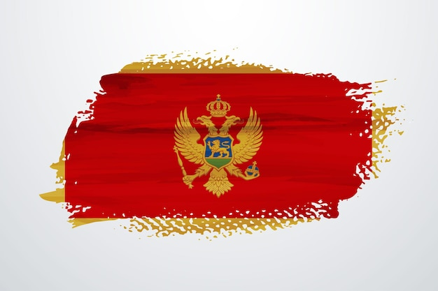 Flaga czarnogóry pędzlem farby
