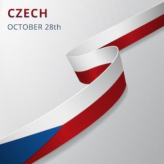 Flaga czech. 28 października. ilustracja wektorowa. falista wstążka na szarym tle. dzień niepodległości. symbol narodowy. szablon projektu graficznego.