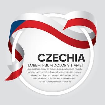 Flaga czech wstążką, ilustracja wektorowa na białym tle