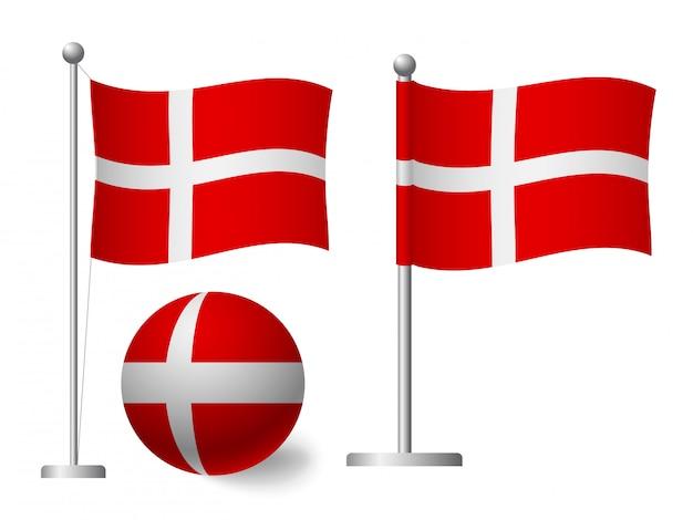 Flaga danii na słup i piłka ikona