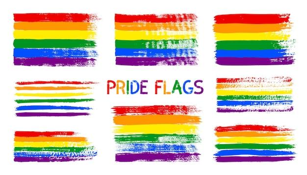 Flaga dumy lgbt grunge. streszczenie tęczowa flaga tekstura ręcznie rysowane tuszem. wektor wielobarwne tło poziomych pasków pociągnięcia pędzla do druku na tekstyliach, koszulkach i stronie internetowej.