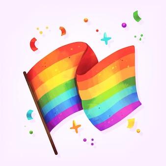 Flaga dzień dumy z kolorowymi elementami