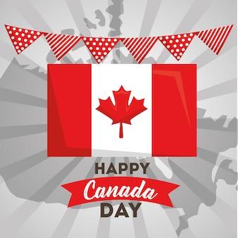 Flaga dzień kanady szczęśliwy w wiszący proporzec kraju mapy