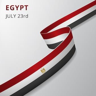 Flaga egiptu. 23 lipca. ilustracja wektorowa. falista wstążka na szarym tle. dzień niepodległości. symbol narodowy. herb. orzeł saladyna.