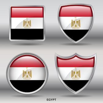 Flaga egiptu bevel kształtuje ikonę