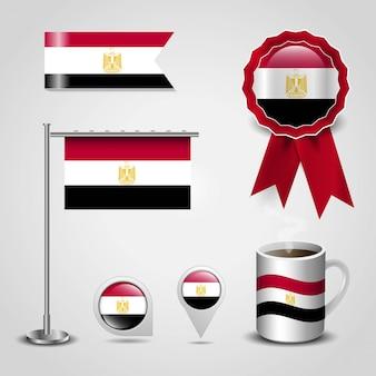 Flaga egiptu miejsce na mapie pin, steel pole i wstążka banner odznaka