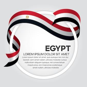 Flaga egiptu wstążka, ilustracji wektorowych na białym tle