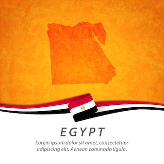 Flaga egiptu z centralną mapą