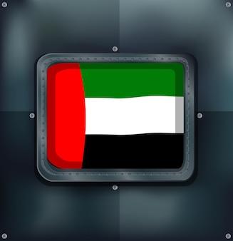 Flaga emiratów arabskich na metalowej ścianie
