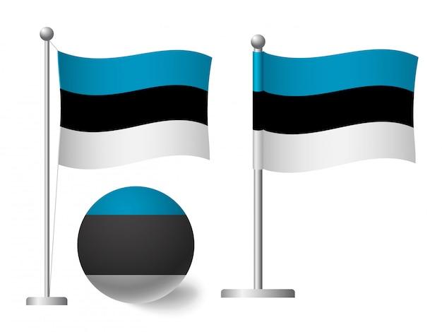 Flaga estonii na słup i piłka ikona
