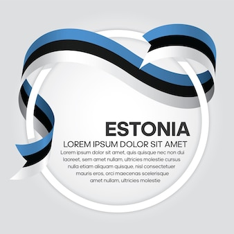 Flaga estonii wstążka, ilustracja wektorowa na białym tle