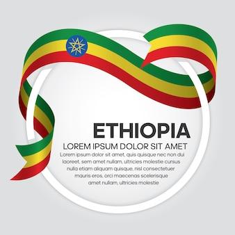 Flaga etiopii wstążką, ilustracja wektorowa na białym tle