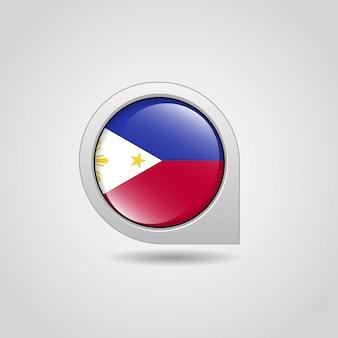 Flaga filipin nawigacja mapa wektor