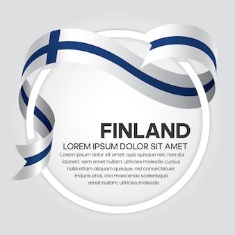 Flaga finlandii wstążka, ilustracji wektorowych na białym tle