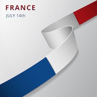 Flaga francji. 14 lipca. dzień bastylii. ilustracja wektorowa. falista wstążka na szarym tle. dzień niepodległości. symbol narodowy. szablon projektu graficznego.