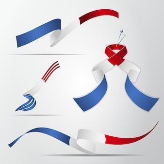 Flaga francji. 14 lipca. zestaw realistycznych falistych wstążek w kolorach flagi francuskiej. dzień niepodległości. symbol narodowy. ilustracja wektorowa. eps10.
