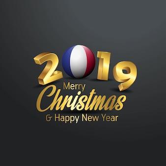 Flaga francji 2019 wesołych świąt typografia