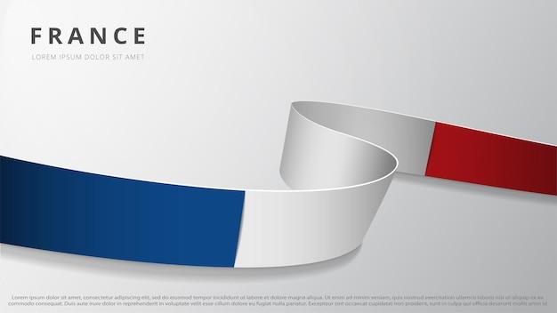 Flaga francji. realistyczna falista wstążka w kolorach flagi francuskiej. szablon graficzny i projekt strony internetowej. symbol narodowy. dzień bastylii. abstrakcyjne tło. ilustracja wektorowa.