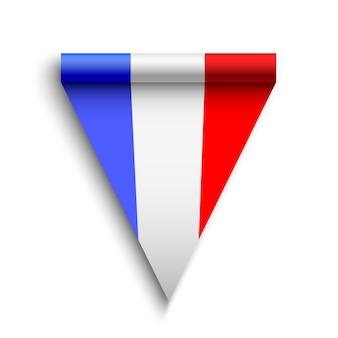 Flaga francji. realistyczna wstążka. ilustracja.