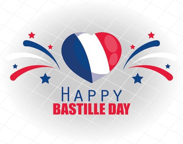Flaga francji serce z fajerwerkami z okazji szczęśliwego dnia bastylii