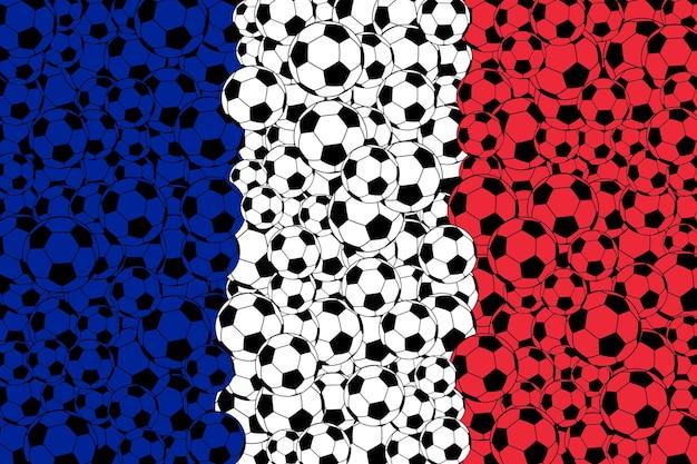 Flaga francji, składająca się z piłek futbolowych w kolorach niebieskim, białym i czerwonym
