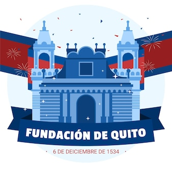 Flaga fundacji de quito i fajerwerki