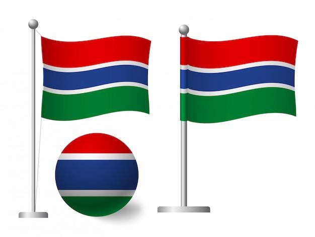 Flaga gambii na słup i piłka ikona
