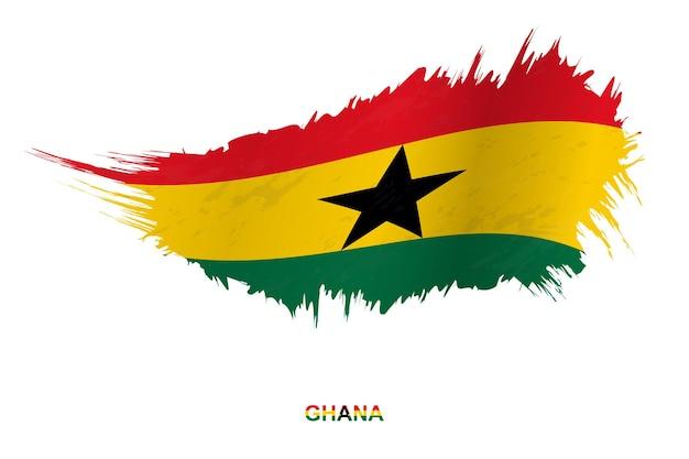 Flaga ghany w stylu grunge z efektem macha, flaga obrysu pędzla wektor grunge.