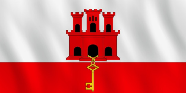 Flaga gibraltaru z efektem falowania, oficjalne proporcje.