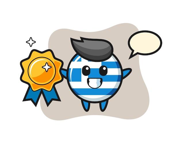 Flaga grecji odznaka maskotka ilustracja trzymająca złotą odznakę, ładny styl na koszulkę, naklejkę, element logo