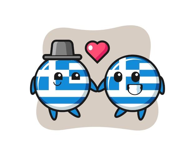 Flaga grecji odznaka postać z kreskówki para z gestem zakochania, ładny styl na koszulkę, naklejkę, element logo
