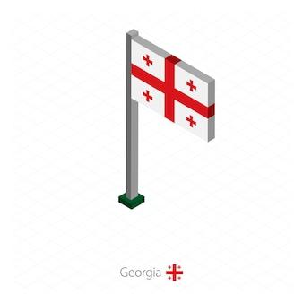 Flaga gruzji na maszcie w wymiarze izometrycznym.