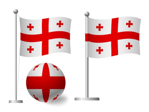 Flaga gruzji na słup i piłka ikona