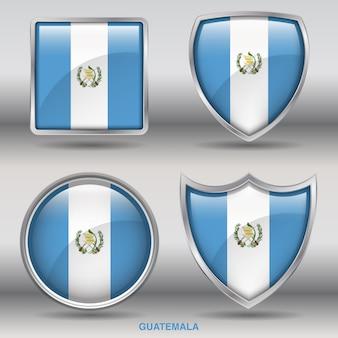 Flaga gwatemali bevel 4 kształty ikona
