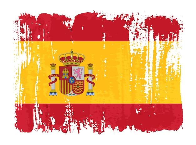 Flaga hiszpanii obrysu pędzla grunge