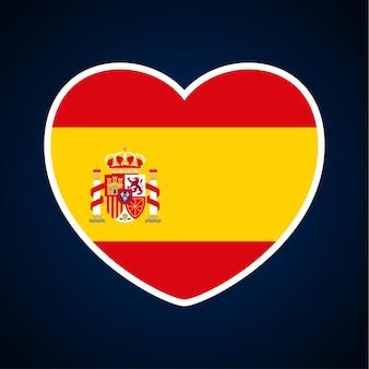 Flaga hiszpanii w kształcie serca. ikona płaskie serce symbol miłości na tle flagi narodowej. ilustracja wektorowa.