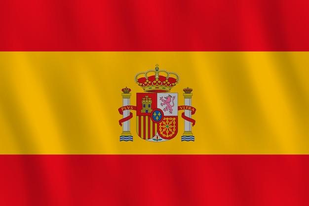 Flaga hiszpanii z efektem falowania, oficjalna proporcja.