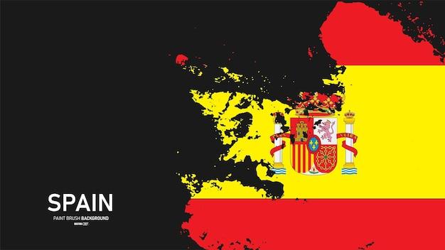 Flaga hiszpanii z tłem stylu grunge obrysu pędzla