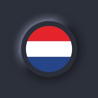 Flaga holandii. flaga narodowa holandii. neumorficzny interfejs użytkownika ux